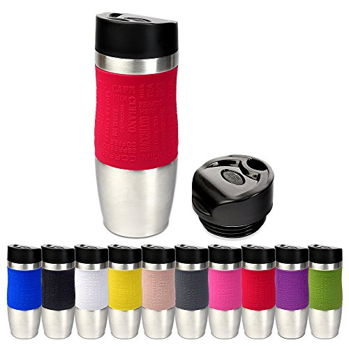 Schramm® Thermobecher in 10 Farben inkl. Ersatzdeckel Isolierbecher ca. 400ml Thermoisolierbecher Kaffeebecher Travel Mug Reisebecher BPA-frei Coffee to go Becher, Farbe:Rot