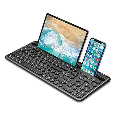Bluetooth Tastatur für Tablet, Dual-Mode Wiederaufladbare kabellose Tastatur mit Halterung, Ultradünne QWERTZ Bluetooth Keyboard für Tablet, Handy, PC, Laptop, Smart TV(Schwarz)