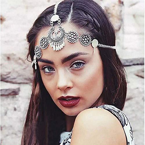 Jovono Bohemian Head Chain mit geschnitzten Wassertropfen Quaste Braut Kopfschmuck Vintage Stirnband für Hochzeit