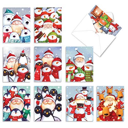 The Best Card Company - 10 Snowman Christmas Cards Boxed - Cute Snowmen Greetings, Kids Holiday Card Assortment (4 x 5.12 Inch) - Season's Beachin M6651XSG