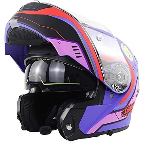 Casco Moto Modular Bluetooth, Homologado ECE Casco De Moto Integral Scooter Para Mujer Hombre Adultos Casco Moto Abatible Con Doble Visera Lente Grande Purple 2,3XL