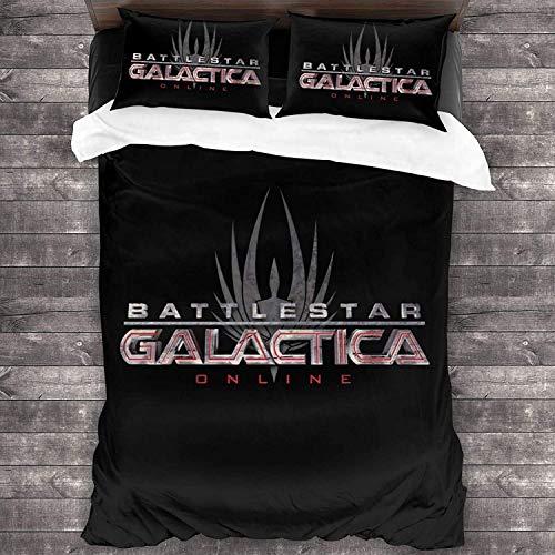 AQEWXBB Battlestar Galactica - Juego de funda de edredón y funda de almohada (3 unidades, cierre de cremallera, microfibra ultrasuave), color negro