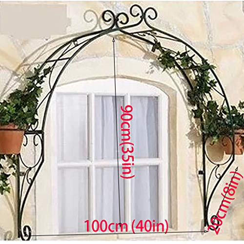 RuBao Decorative Metal Garden Arch Arbor,Wall-mounted Iron Flower Stand Door Trim,Outdoor Shelf Plant Stand for Various Climbing Plant,Garden Lawn Backyard