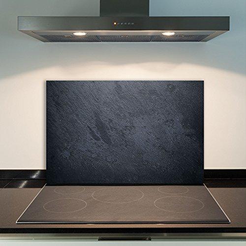 DAMU Ceranfeldabdeckung 1 Teilig 80x52 cm Herdabdeckplatten aus Glas Modern Schwarz Elektroherd Induktion Herdschutz Spritzschutz Glasplatte Schneidebrett