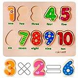 Rolimate Puzzles de Madera 10 Números Preescolar Desarrollo Educativo Juguete, Regalo de Cumpleaños para 1 2 3+ Años Niño Niña, Montessori Habilidad Motora Fina Juego Juguetes para Niños