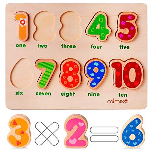Rolimate Puzzel Houten speelgoed Voorschoolse leerpuzzel Educatieve Montessori-spellen Verjaardagscadeau voor 1 2 3+ jaar Jongen Meisje Peuter, Sorteren Stapelspeelgoed Ouder-kind interactie