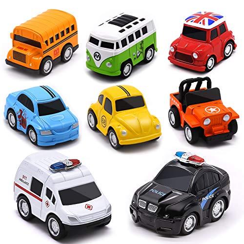 onehous Juguete Coches, Metálico Tire hacia Atrás del Auto Camiones Vehículos, Pack de 8 Mini Die Cast Set de Coches de Juguete, Coche de Policía/Autobús Escolar para niños de 3 a 12 Años Niñas Niños