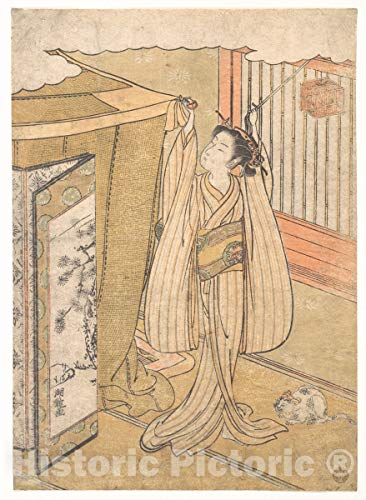 Historic Pictoric Art Print : Isoda Koryūsai - A Girl Hanging up a Mosquito Net Canopy Over Her Bed. - Japan : Vintage Wall Décor : 24in x 32in