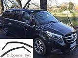 Lot de 2 déflecteurs d'air compatible avec Mercedes Benz Vito Viano V Class W447 2014 à présent MK3 Verre Acrylique Sombre PMMA de Qualité Supérieure