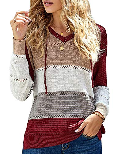 Women's Striped Patchwork Knit Blouse Lightweight Long Sleeve Hoodie Casual Oversized Pullover Jacket Sweatshirs Fashion Knitted Tops