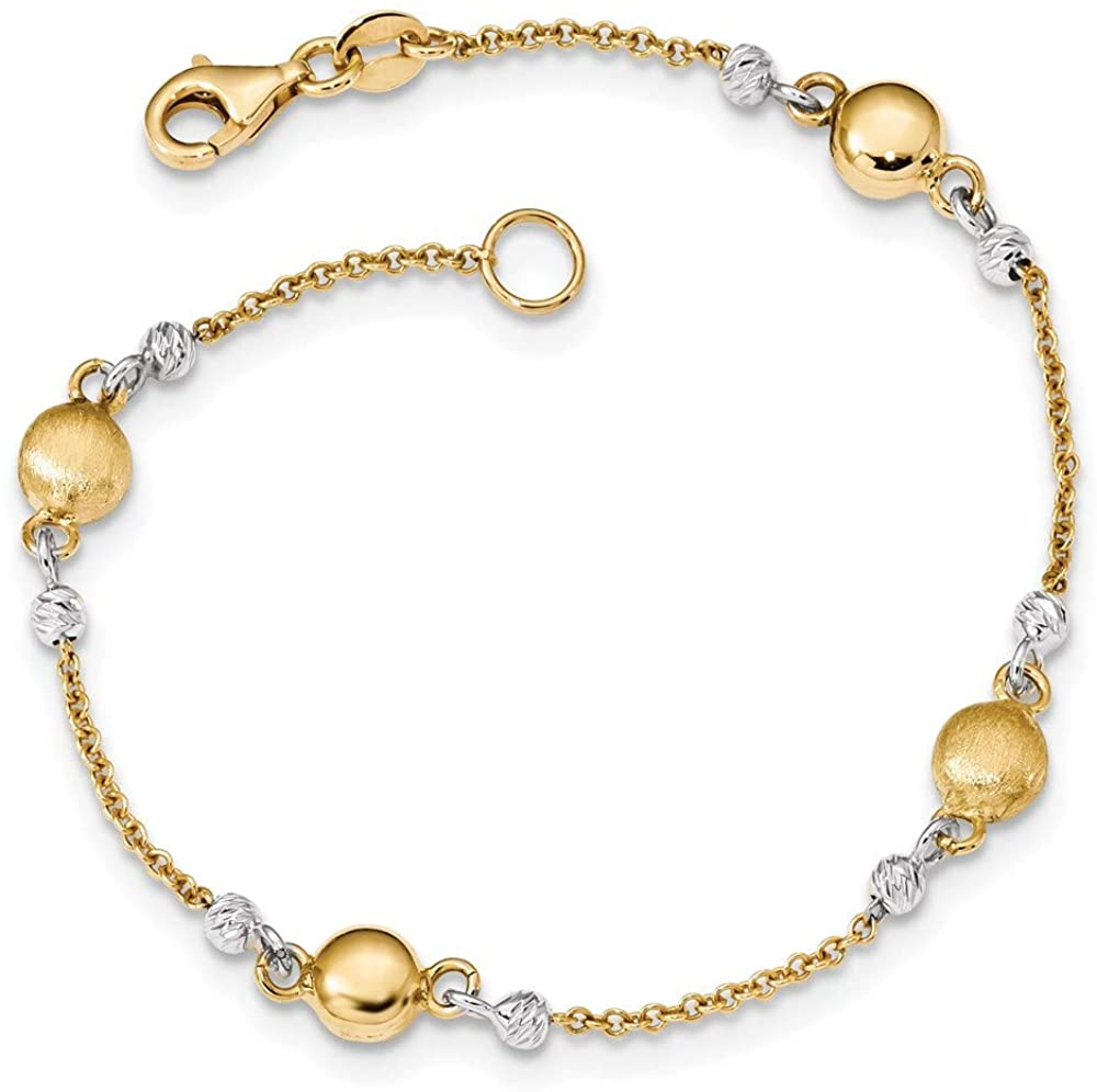 14k Two Max 72% OFF Long-awaited Tone Gold Bracelet Textured Beaded 7.5