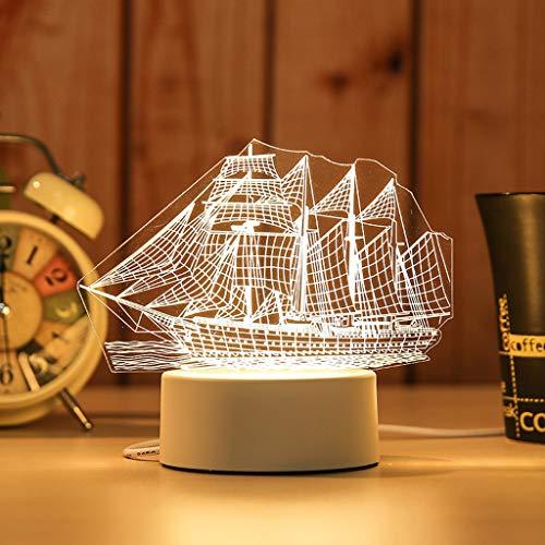 Veilleuse 3D Veilleuses Chambres Salon Décorations for la Maison Anniversaire Mariage Cadeaux Lumières De Chevet ZHJING (Size : Boat)