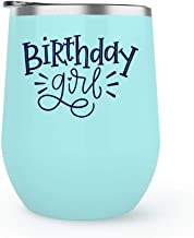 Birthday Girl | The Navy Knot | 12 oz Mint Stainless Steel Novelty Wine Tumbler Insulated Cup with Lid for Coffee Cold Drinks