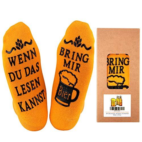 Youcusone Wein-Socken/Bier Socken, Gekämmter Baumwolle Lustige Socken WENN DU DAS LESEN KANNST BRING MIR BIER/WEIN,Weihnachten Geschenkidee für herren, Frauen, Geschenk bester Freund (Orange)