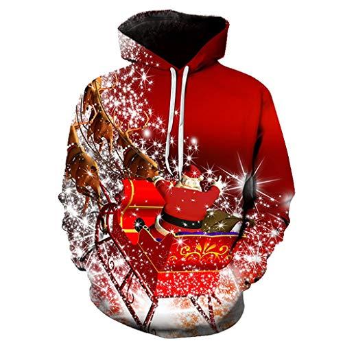 Herren Damen Sweatshirt Kolylong® Weihnachten 3D Druck Winter Warm Pullover mit Kapuzen Schneeflocke Muster Sport Fitness Slim Fit Unisex Oversize Hoodie Tunnelzug und Tasche Kapuzenpullover S-6XL