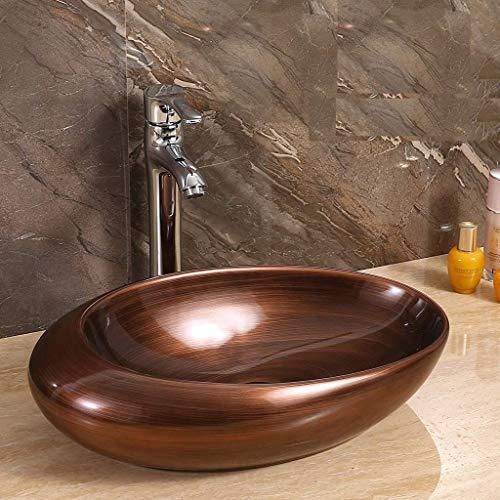 InArt Keramik Waschbecken Arbeitsplatte Waschbecken / Waschbecken für Badezimmer Gästetoilette / Arbeitsplatte Waschbecken Handwaschbecken Eiform 49 x 32 x 14 CM (kupferfarbenes satinmattes)