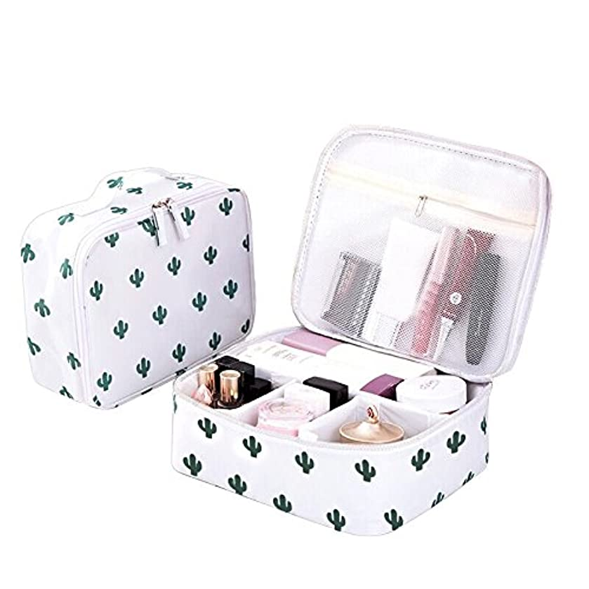 Bonaweite Cactus Travel Makeup Bags Small Brush Cosmetic Case Mini Pouch Holder Organizer Portable Vanity Bag Jewelry Accessories Beauty Kit Travelling Train Artist with Hand Strap