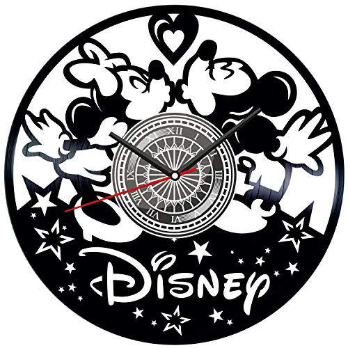 Mickey & Minnie Mouse Black Vinyl Clock - Vintage Room Kitchen Bedroom Decor - Vinyl Record Gift Idea For Birthday Christmas Hanukkah - Unique Vintage Wall Art - Personalized Home Decoration - 12 Inch