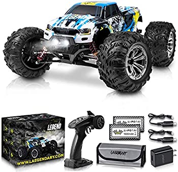 1 10 Scale Large RC Cars 50+ kmh Speed - Boys Remote Control Car 4x4 Off Road Monster Truck Electric - Hobby Grade Waterproof Toys Trucks for Kids and Adults - 2 Batteries + Connector for 40+ Min Play