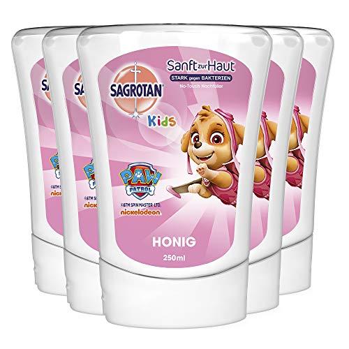 Sagrotan No-Touch Kids Nachfüller Honig – Paw Patrol Edition – Für den automatischen Seifenspender – 5 x 250 ml Handseife im praktischen Vorteilspack