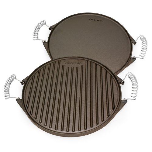 Victoria Round Cast Iron Grill. Double Burner Griddle, with Removable Coil Handles Seasoned with 100% Kosher Certified Non-GMO Flaxseed Oil, 12.5 Inch, Black