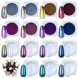Dapin 15 Jars chrome nail powder metallic mirror effect holographic Aurora chameleon pigment