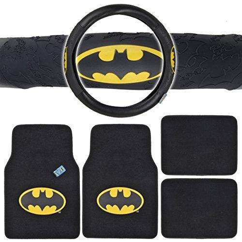 BDK WBMT-1301+WBSW-1301 Batman 4 Piece Floor Mats and Batman Steering Cover