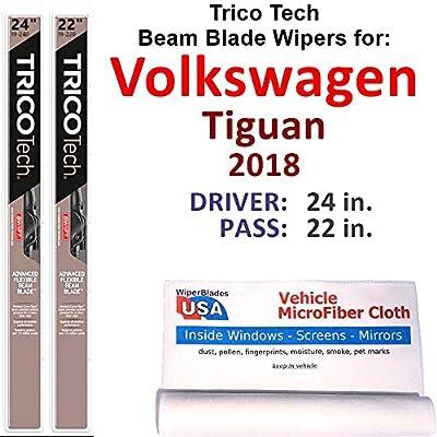 Beam Wiper Blades for 2018 Volkswagen Tiguan Set Trico Tech Beam Blades Wipers Set Bundled with MicroFiber Interior Car Cloth
