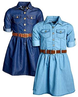 dollhouse Girls Belted Denim Chambry Dress with Roll Cuffs (2 Pack), Dark/Light, Size 4'