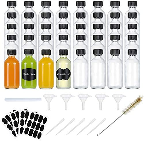 2oz Clear Glass Bottle with Poly Cone Cap Boston Round Sample Glass Bottle for Potion Juice product image
