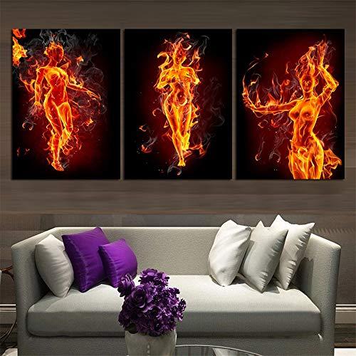 WSNDGWS HD vlam vrouw decoratieve schilderij drie zelfs inkjet high-end woondecoratie schilderij zonder fotolijst 40x60cmx3 A2