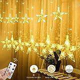 CREASHINE 12 Stars 138 LED Curtain String Lights, Window Curtain Lights with 8 Flashing...