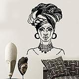 Tianpengyuanshuai Cabeza de Mujer Africana Pared Arte calcomanía pañuelo Cara nativa calcomanía Vinilo Pared Pegatina decoración del hogar salón de belleza-42x30cm