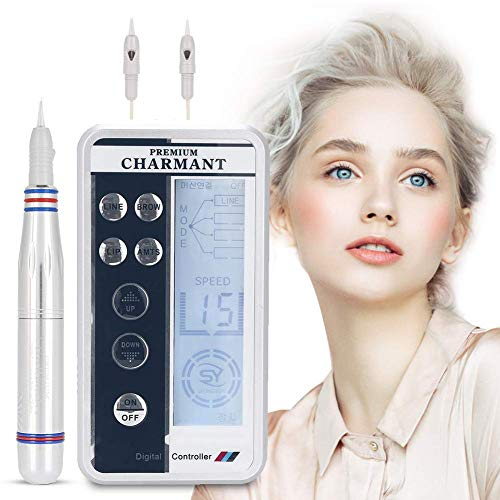 Electric Digital Permanent Eyebrow Lip Eyeliner Tattoo Pen Makeup Tattoo Machine with 2 Types Needle and LCD Display, Teaching CD (Silver) (Panel Controller Tattoo Machine)