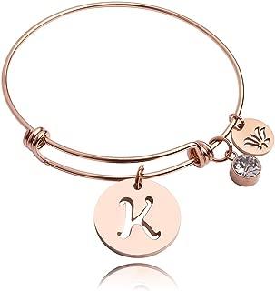 REEBOOOR Initial Bracelet Personalized Letter Bracelet Rose Gold Initial Bange Bracelet Gift for Womens,Girls