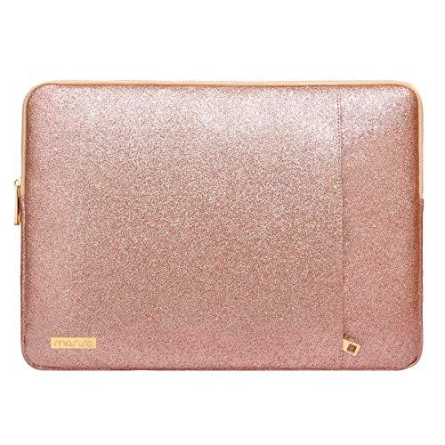 MOSISO Laptop Sleeve Hülle Kompatibel mit 2020-2018 MacBook Air 13 A2337/A2179/A1932,MacBook Pro 13 A2338/A2251/A2289/A2159/A1989/A1706/A1708,PU Leder Vertikale Stil Gepolsterte Laptoptasche,Rose Gold