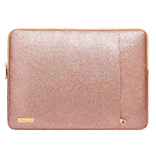 MOSISO Tablet Sleeve Compatible with 9.7-11 inch iPad Pro,2019 iPad 7 10.2/iPad Air 3 10.5,2018 Surface Go,Samsung Tab S6, Glitter PU Leather Waterproof Vertical Style Padded Bag Case, Rose Gold
