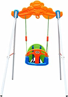 COLOR TREE Baby Toddler Indoor/Outdoor Metal Swing Set with Safety Seat