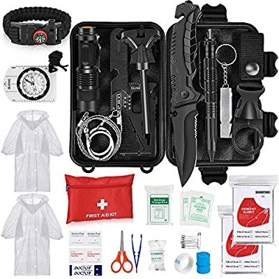 Napasa Emergency Survival Kit 56 in 1 Outdoor Survival Gear Tool and First Aid Kit, Survival Bracelet, Emergency Blanket, Raincoat, Compass, Multi-Purpose EDC Outdoor Gear for Camping Hiking Climbing