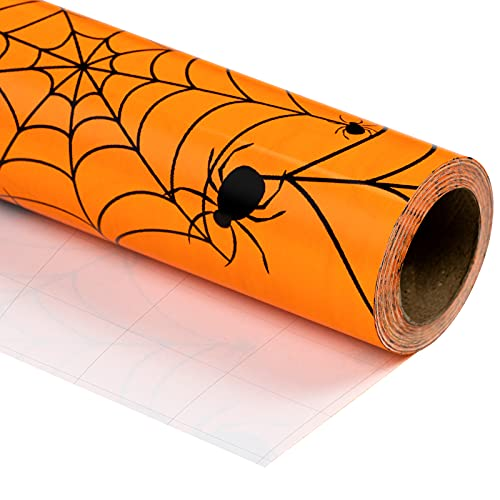 WRAPAHOLIC Halloween Wrapping Paper Roll – Spider Design Perfect for Halloween Decorations, Holiday, Party, Baby Shower Present Packing – 30 Inch x 33 Feet