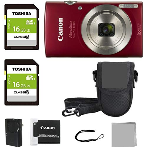 Crystal Canon Elph 180 Point and Shoot Camera Bundle (Red Bundle)