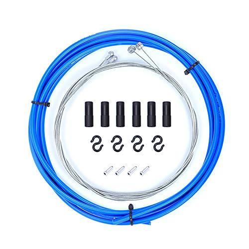 CDKJ Cables de Freno de Bicicleta Universal de Tubos para Bicicletas de Carretera, Bicicletas de montaña, Azul (1 Unidad).