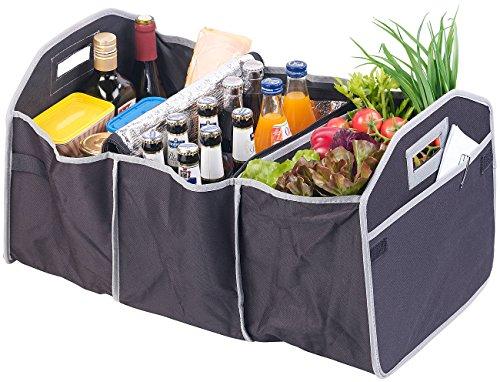 Lescars Kofferraumtasche: 2in1-Kofferraum-Organizer mit 3 Fächern und Kühltasche, faltbar (Kofferraumtasche mit Kühlfach)