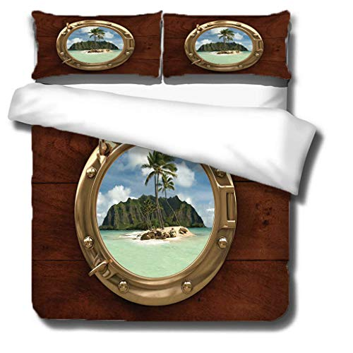 Generic Branded Duvet cover-Small Island 100% superfine fiber Softness Comfort Easy to maintain Bedding for ALL-SEASON - Single bed: 1 piece quilt cover 55x79 inch, 20x30 inch pillowcases x 2 -