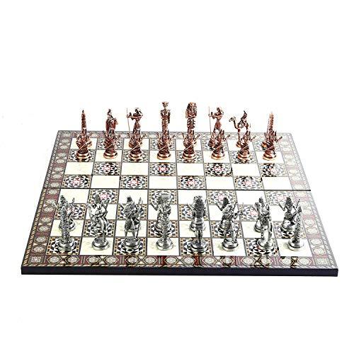 GiftHome Juego de ajedrez de metal de cobre antiguo faraón de Antiguo Egipto para adultos, piezas hechas a mano y diseño de mosaico, tablero de ajedrez de madera King 3.4 inc