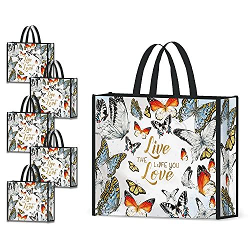 NymphFable 5 Pcs Tote Bag Reutilizables Vistoso Mariposas Bolsas para Comestibles Grande Bolsa Compra