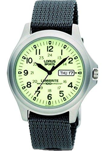 RJ655AX9 Lorus analoge Herrenuhr, Lumibrite, Tag- und Datumsanzeige, Nylon-Armbanduhr, grau
