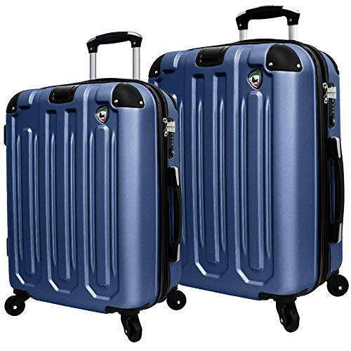 Mia Toro Italy Regale Composite Hardside Spinner Luggage 2pc Set, Blue, One Size
