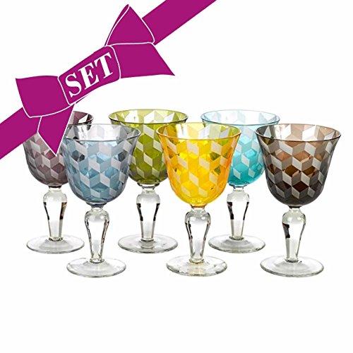 Weingläser Multicolor 6er Set - pols potten, verschiedene Farben, Designer Stielglas, wunderschönes Rot- bzw. Weißweinglas