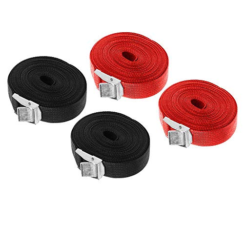 Lashing Strap SAIYU Adjustable Ratchet Tie Down Straps Heavy Duty Tension Belts Cargo Straps with Quick Release Cam for Trucks Bicycle Boat Car Luggage Strap (Red and Black, 4 Pack, 5M*25mm)